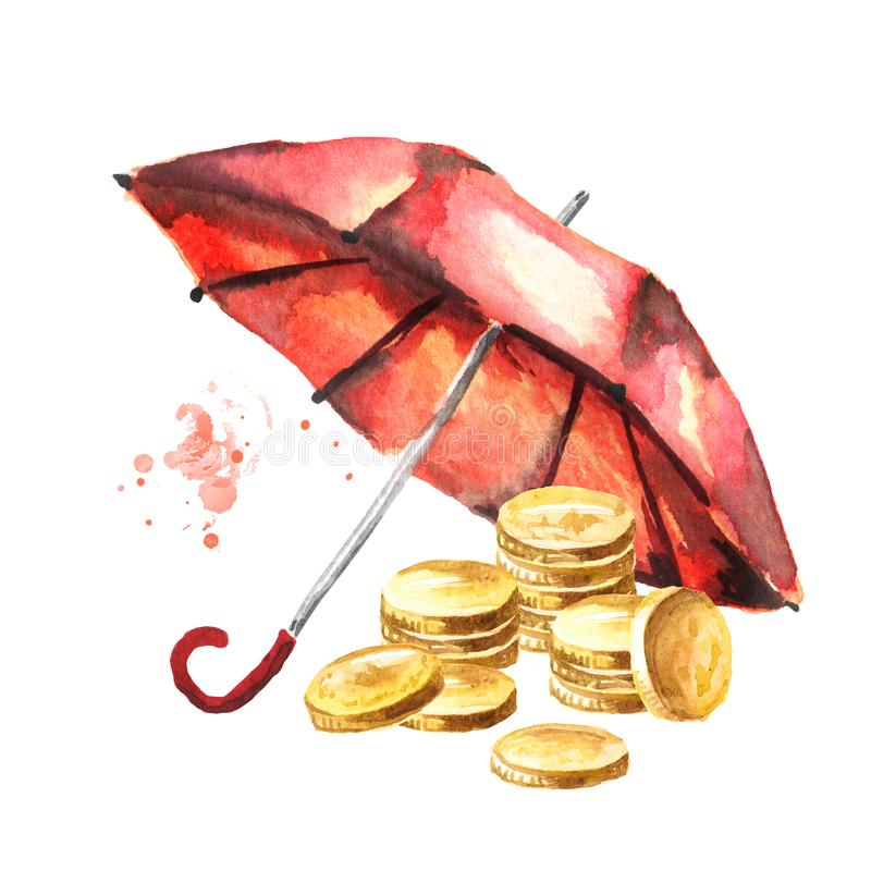 Coins money under the umbrella. Deposit insurance. The banking concept. Watercolor hand drawn illustration isolated on white stock photography