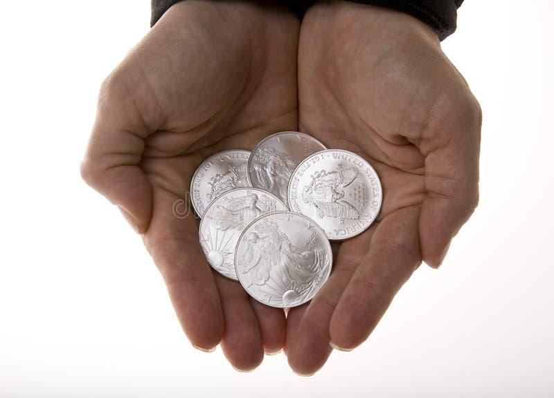 coins nävefrihetsilver arkivfoto