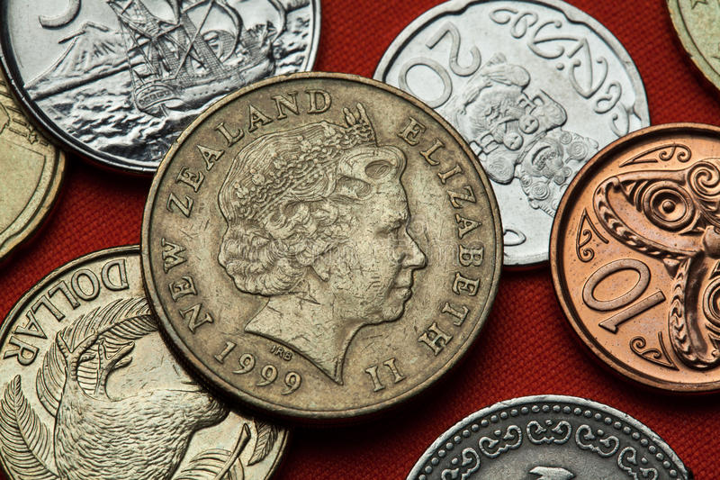 Coins of New Zealand. Queen Elizabeth II. Depicted in the New Zealand two dollars coin stock images