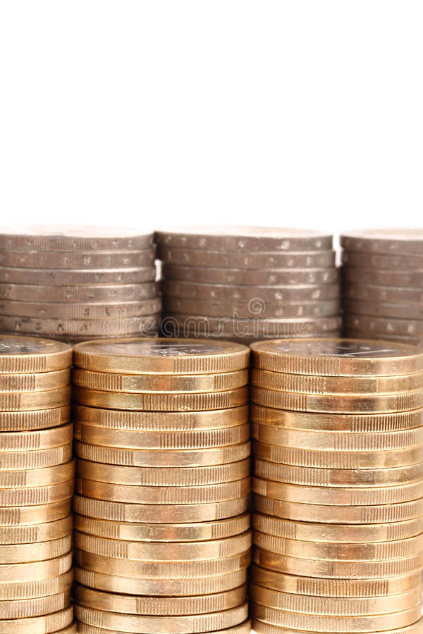 Download Coins Organized In Columns And Rows Isolated Stock Image - Image: 14851345