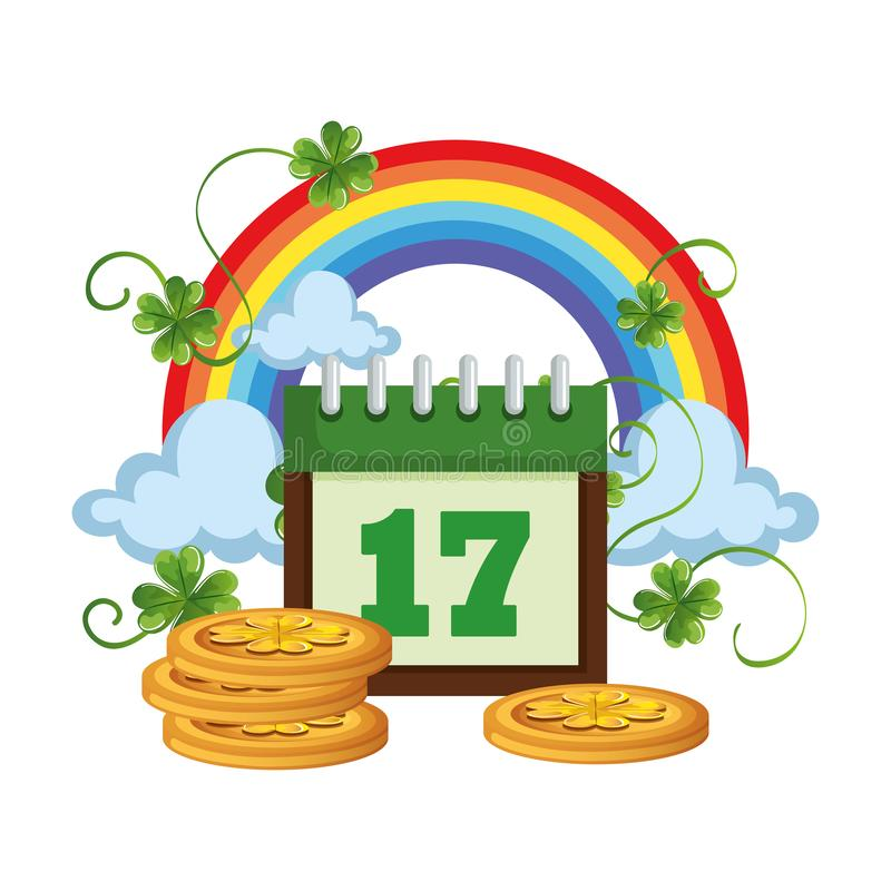 Coins pile with calendar and rainbow. Vector illustration design stock illustration
