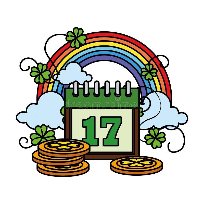 Coins pile with calendar and rainbow. Vector illustration design vector illustration