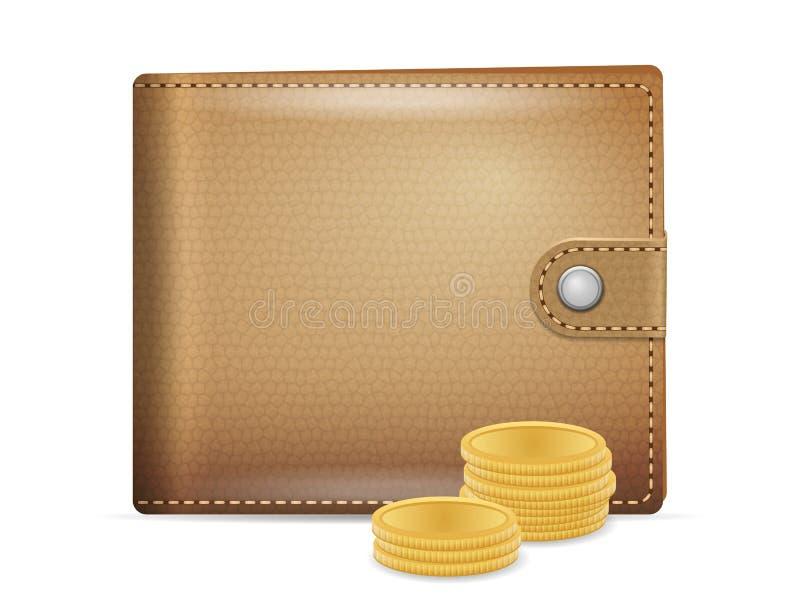 coins plånboken vektor illustrationer
