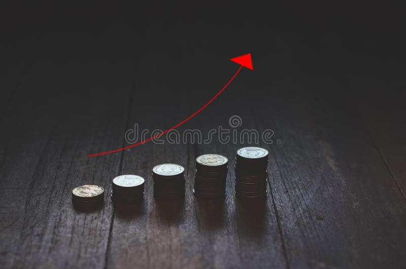 Coins placed in rows royalty free stock photos