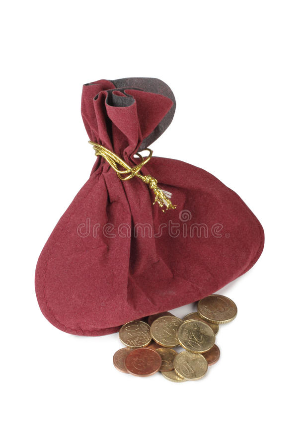 Coins and pouch stock image