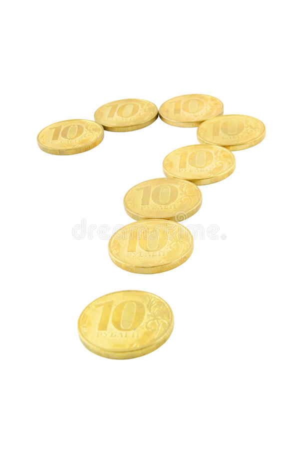 Coins question mark stock image