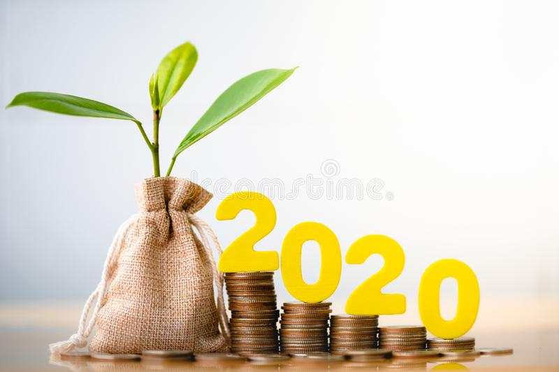 2020 and Coins in sack with small plant tree. Wood block 2020 and Coins in sack with small plant tree. Pension fund, 401K, Passive income. Investment and royalty free stock image