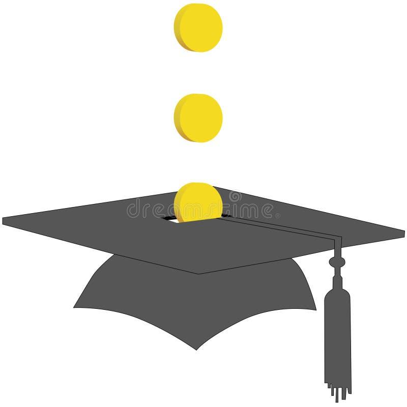 Coins Save in College Graduation Savings Fund Bank. Coin Graduation Cap symbol of adding money to a college education graduation saving fund vector illustration