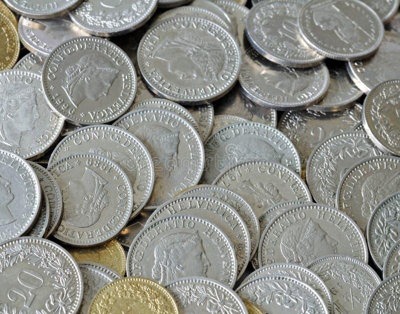 coins schweizare royaltyfri foto
