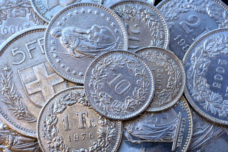 coins schweizare fotografering för bildbyråer