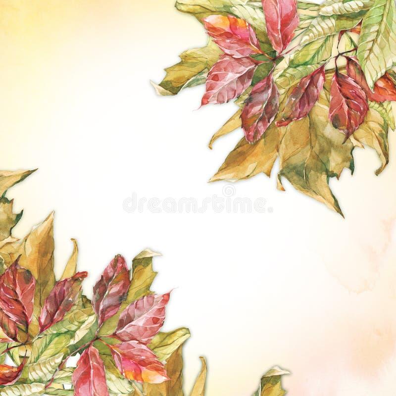 Coins secs de feuilles d'automne d'aquarelle illustration libre de droits