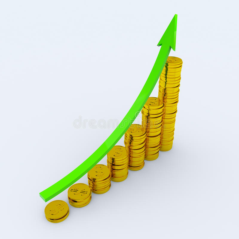Coins showing profit and gain. Graph with green arrow and coins showing profits and gains. 3D render image stock illustration