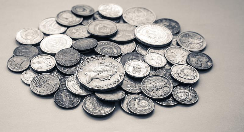 Collectable coins. Collectible silver coins of different countries and times stock images