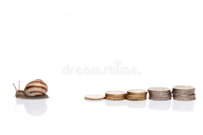 Coins and snail. stock images