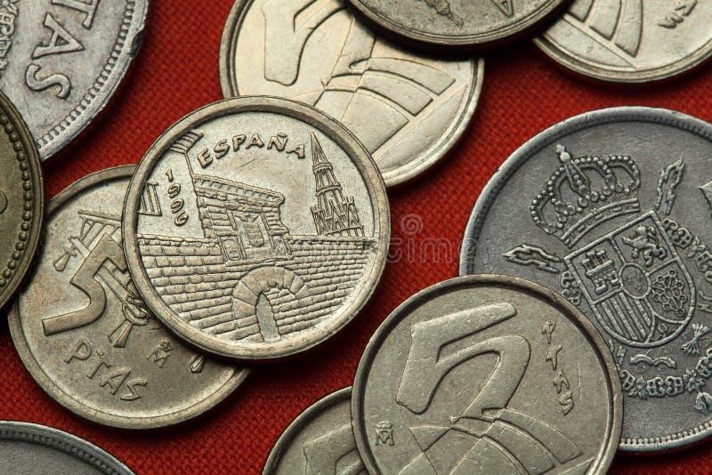 Coins of Spain. Logrono, La Rioja. Coins of Spain. Revellin and Santa Maria de Palacio Church in Logrono, La Rioja depicted in the Spanish five peseta coin (1996 royalty free stock photo