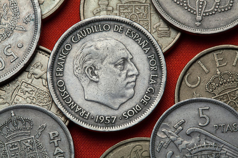 Coins of Spain. Spanish dictator Francisco Franco royalty free stock photos