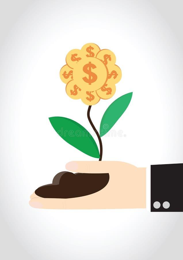 coins sparande för stapel för begreppshandpengar skyddande vektor illustrationer