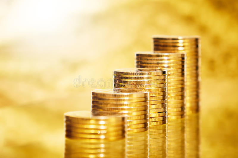 Coins stack on background stock images