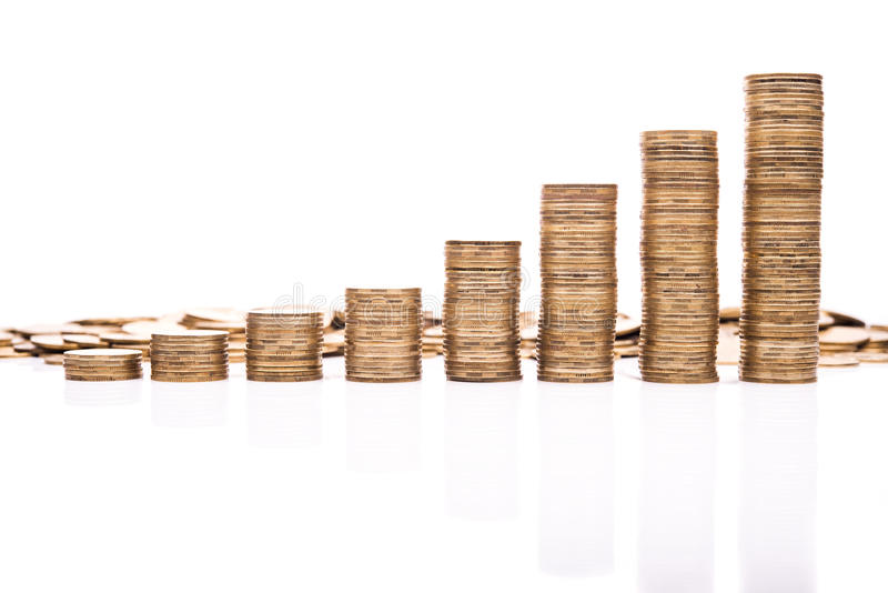 Coins stack. Isolated on white background royalty free stock photography