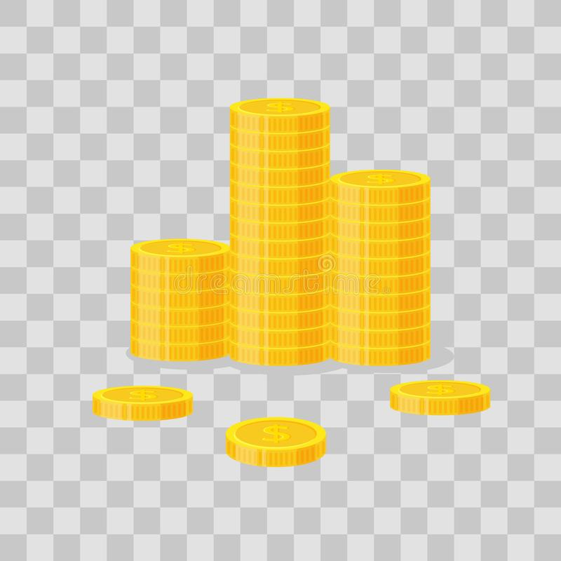 Coins stack vector illustration, icon flat finance heap, dollar coin pile. Golden money standing on stacked, gold piece. On transparent background - flat style stock illustration