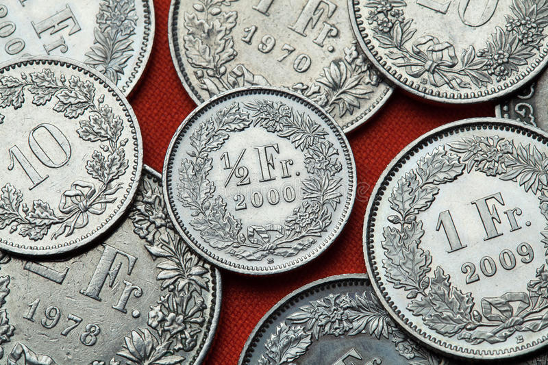 Coins of Switzerland stock photography
