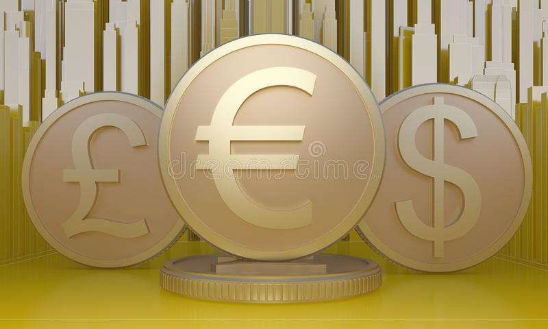 Coins with symbols of 3 main currencies vector illustration