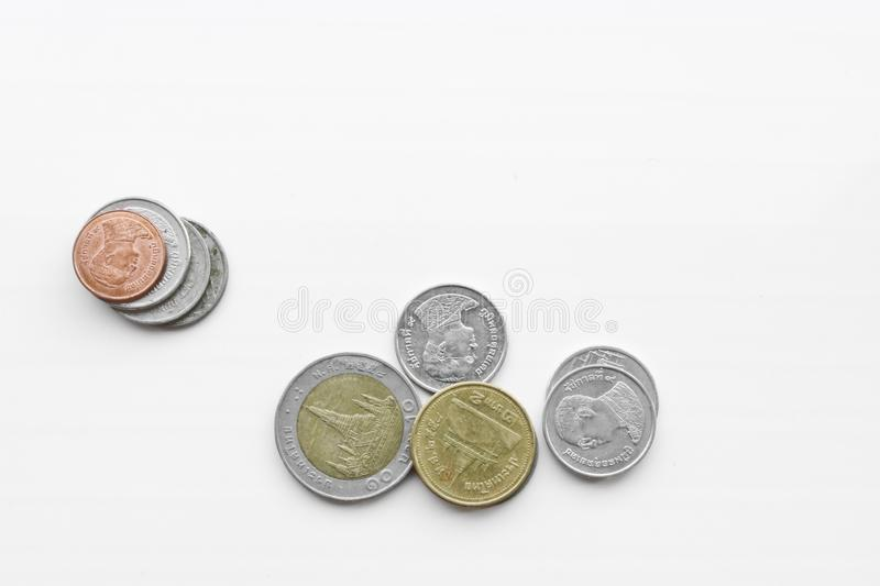 Coins - Thai baht on a white background. stock photography