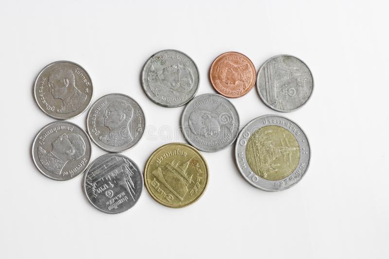 Coins - Thai baht on a white background. stock images