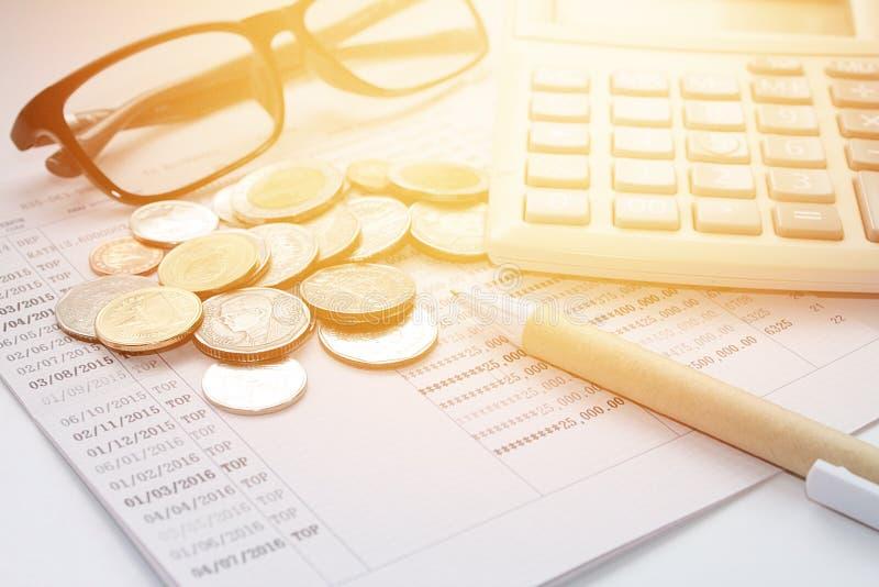 Coins, Thai Money, Pen, Calculator, Glasses And Savings Account ...