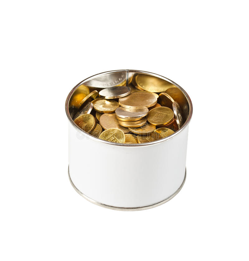 Download Coins in a tin can stock image. Image of paying, money - 25660053