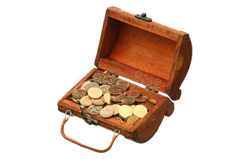 Coins in a trunk. On a white background stock photography