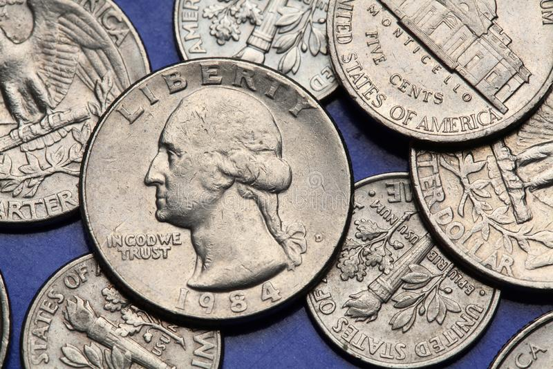 Coins of USA. George Washington. Depicted on the US quarter coin royalty free stock photo