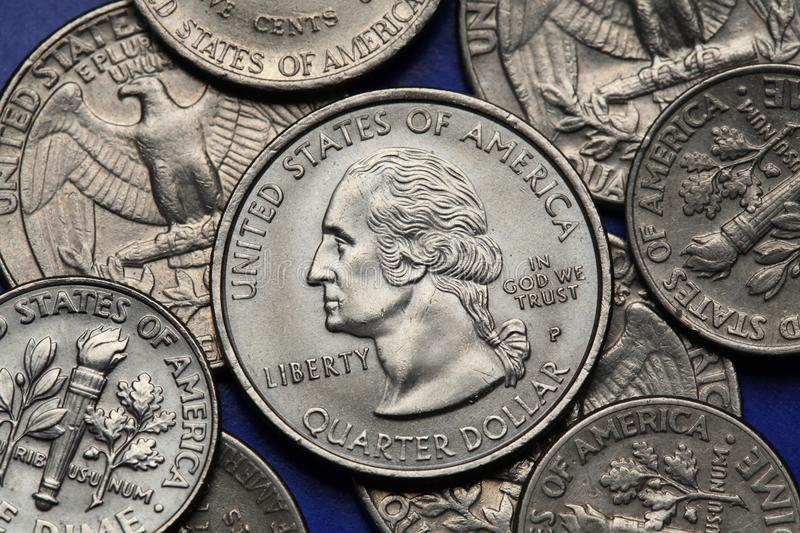 Coins of USA. George Washington. Depicted on the US quarter coin royalty free stock photos