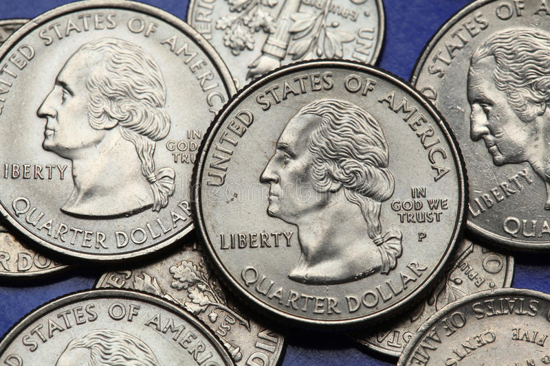 Coins of USA. George Washington. Depicted on the US quarter coin royalty free stock image