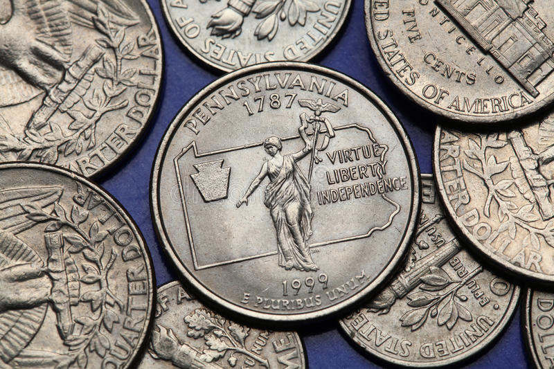 Coins of USA. US 50 state quarter. Coins of USA. Commonwealth statue in Harrisburg, Pennsylvania, depicted on the US Pennsylvania quarter (1999 stock photography
