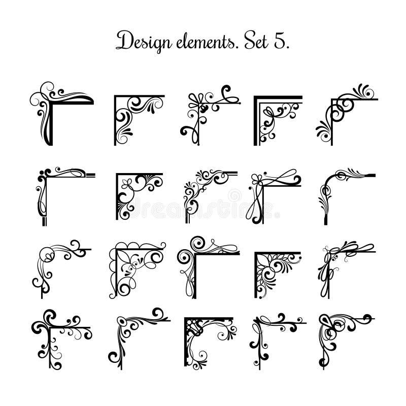 Coins victoriens de flourish d'isolement sur le fond blanc Éléments de conception de coin de vecteur de vintage pour des ornement illustration libre de droits