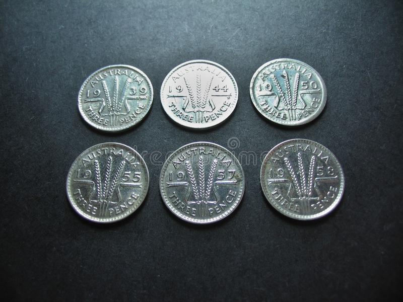 Coins Vintage Silver Australian Threepence. stock photo