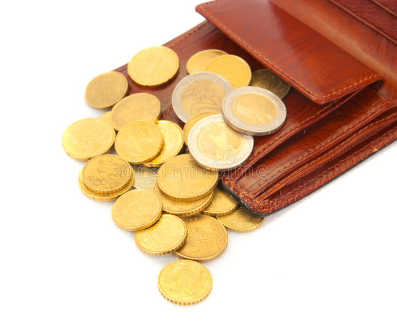 Download Coins with   wallet stock photo. Image of golden, cent - 13912574