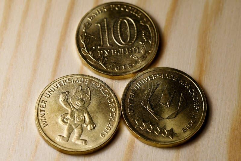 Coins winter universiade Krasnoyarsk. Close-up stock photo