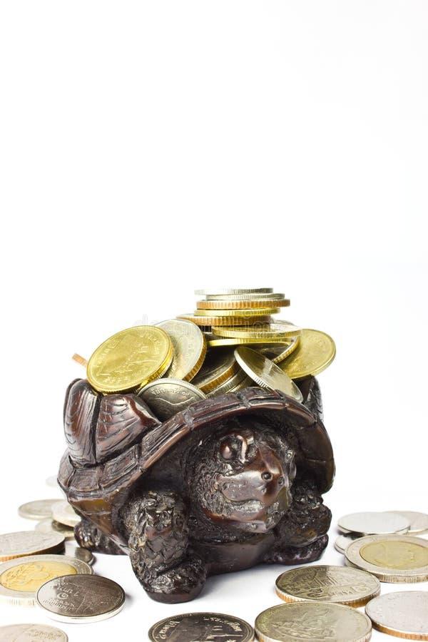 Download Coins and Wood Turtl stock image. Image of saving, banking - 26467339