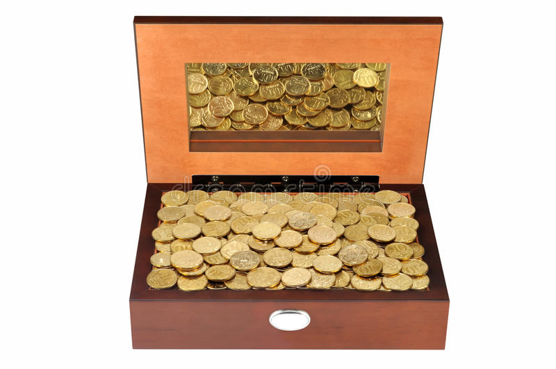 Download Coins in a wooden casket stock image. Image of isolated - 36669883