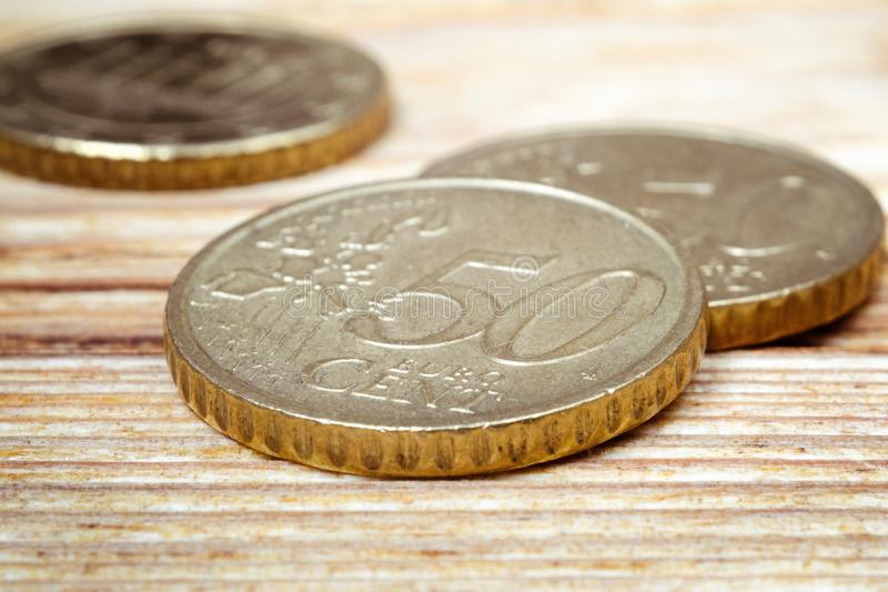 Coins worth fifty euro cents royalty free stock photo
