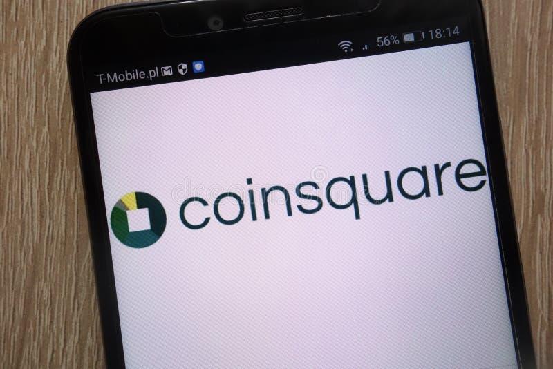 Coinsquare logo som visas på en modern smartphone royaltyfri fotografi