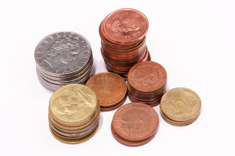 Coints in den Spalten stockfotografie