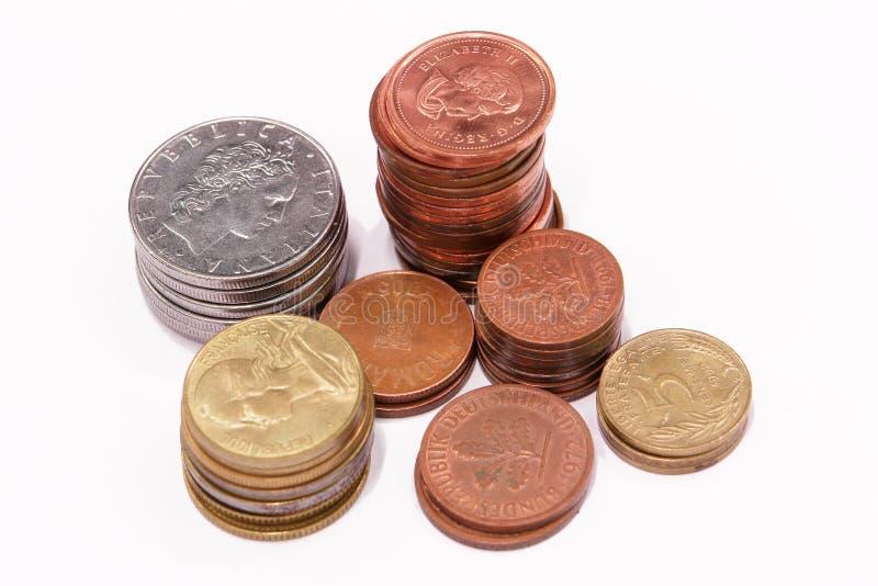 Coints nas colunas fotografia de stock
