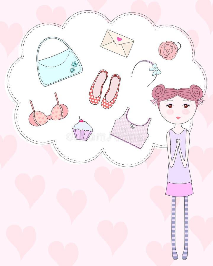Coisas de Girly ilustração stock