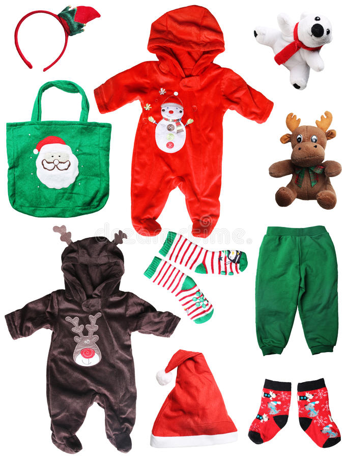 Coisas do bebê do Natal de Papai Noel isoladas no branco foto de stock