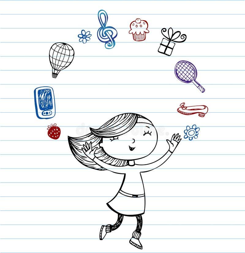 Coisas do favorito dos adolescentes ilustração do vetor