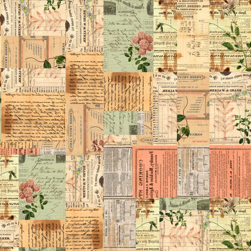 Coisas efêmeras do vintage, texto e colagem de papel das flores fotos de stock royalty free