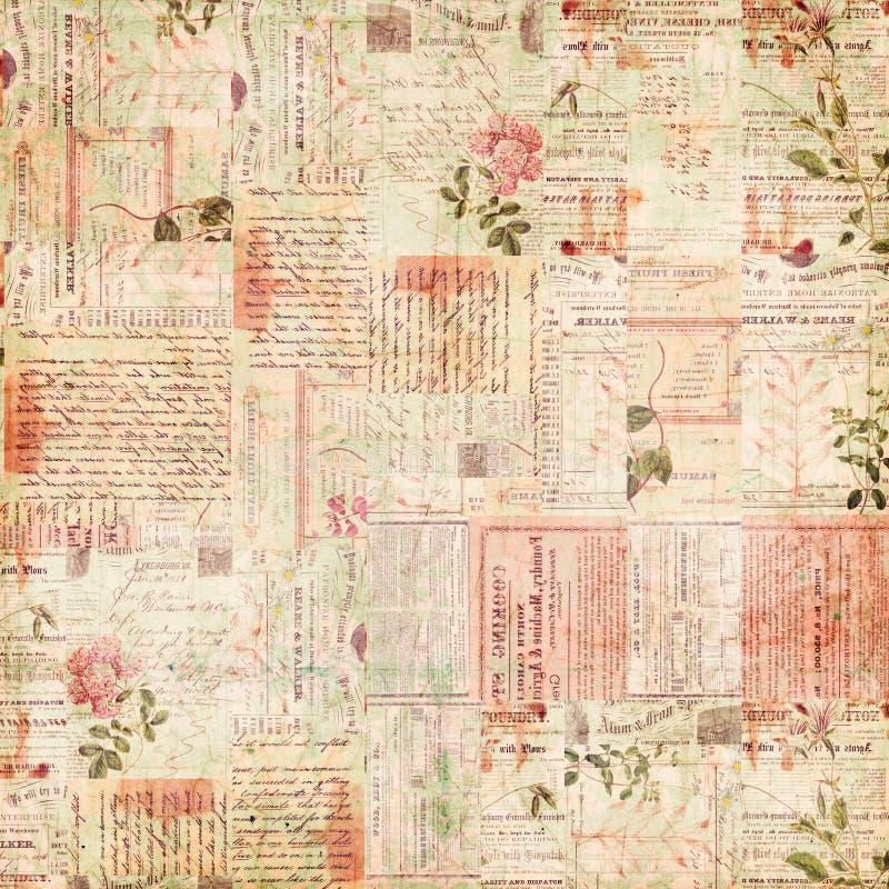 Coisas efêmeras do vintage, texto e colagem de papel das flores foto de stock royalty free